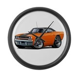 1970 Roadrunner Orange-Black Car Large Wall Clock