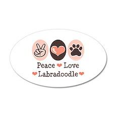 Peace Love Labradoodle 20x12 Oval Wall Peel