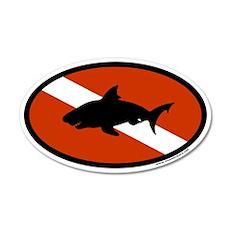 Scuba Diver Flag with Shark 35x21 Oval Wall Peel