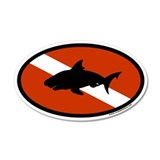 Scuba Diver Flag with Shark 35x21 Oval Wall Peel