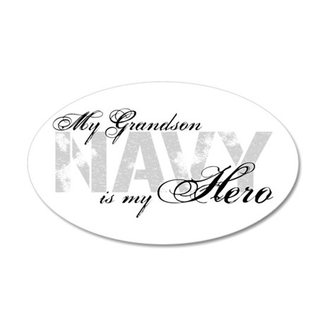 Grandson is my Hero NAVY 20x12 Oval Wall Peel