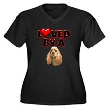 Loved by a Cocker Spaniel Women's Plus Size V-Neck