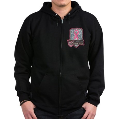 Breast Cancer Survivor Zip Hoodie (dark)