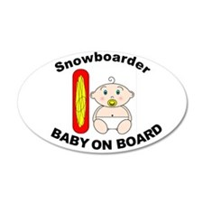 Snowboarder Baby on Board 35x21 Oval Wall Peel