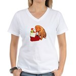 Toller Puppy Christmas Women's V-Neck T-Shirt