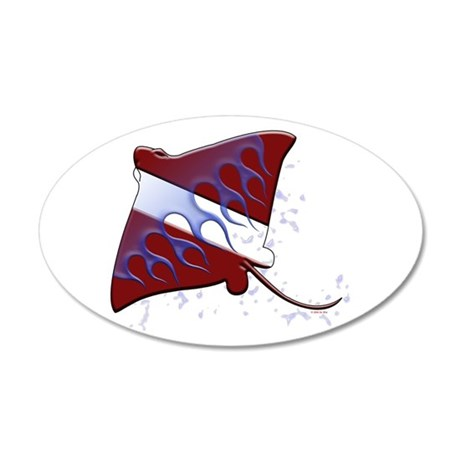 Dive Flag: Ray 35x21 Oval Wall Peel
