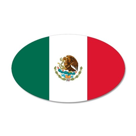 Mexico Flag 35x21 Oval Wall Peel