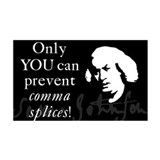 """Only YOU can prevent comma splices"" Rect. Sticker"