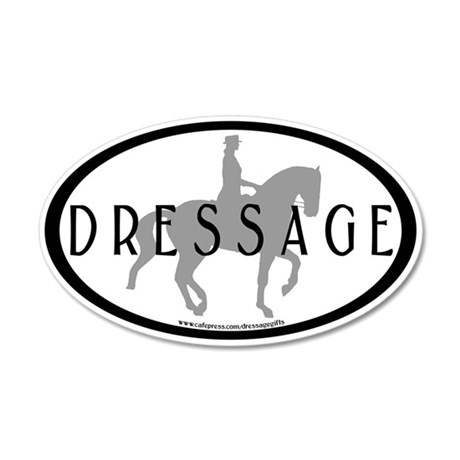 Piaffe Rider w/ DRESSAGE Text 35x21 Oval Wall Peel