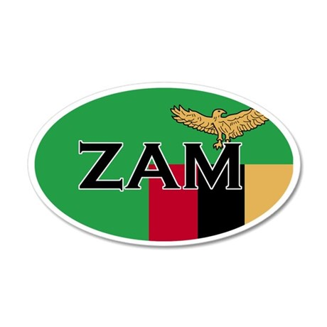 Zambian Flag with Text 35x21 Oval Wall Peel