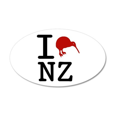 I Love New Zealand 35x21 Oval Wall Peel