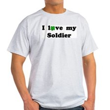 I love my Soldier - lucky clover Ash Grey T-Shirt