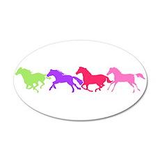 Multi color horses 20x12 Oval Wall Peel