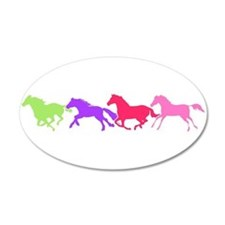 Multi color horses 35x21 Oval Wall Peel