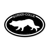 &quot;Border Collie&quot; Black 20x12 Oval Wall Peel