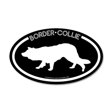 """Border Collie"" Black 35x21 Oval Wall Peel"