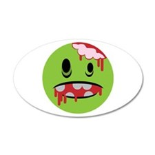 unhappy undead zombie smiley 20x12 Oval Wall Peel