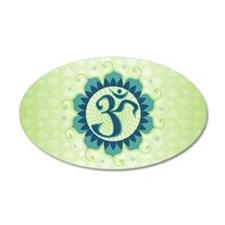 Lotus Aum Blue/Green - 35x21 Oval Wall Peel