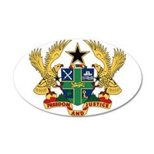 Ghana Coat of Arms 35x21 Oval Wall Peel