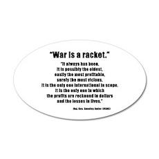 War is a Racket 35x21 Oval Wall Peel