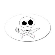 White Foodie Skull 20x12 Oval Wall Peel