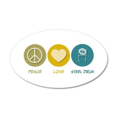 Peace Love Steel Drum 35x21 Oval Wall Peel