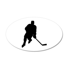 Hockey Player 35x21 Oval Wall Peel