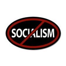 No Socialism 35x21 Oval Wall Peel