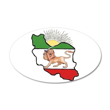 Iran Flag-Map & Sun 20x12 Oval Wall Peel
