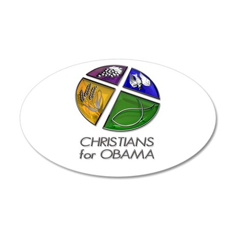 Christians for Obama 35x21 Oval Wall Peel