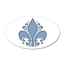 Fleur II -blue 35x21 Oval Wall Peel