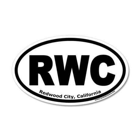 "Redwood City, California ""RWC"" 35x21 Oval Wall Pee"