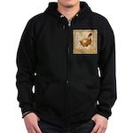 Golden Hen Zip Hoodie (dark)