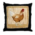 Golden Hen Throw Pillow