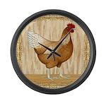 Golden Hen Large Wall Clock