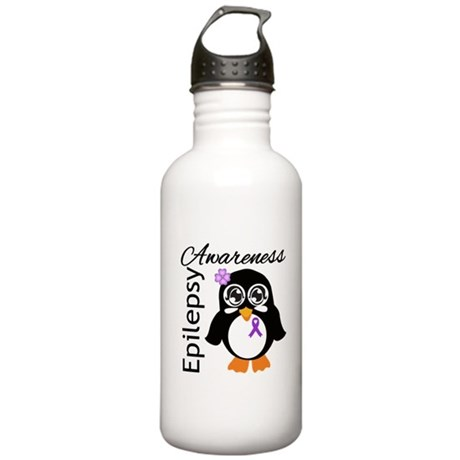 Penguin Epilepsy Awareness Stainless Water Bottle
