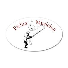Fishin Musician 20x12 Oval Wall Peel