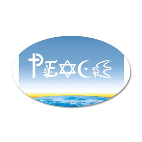 Peace On Earth at Sunrise 20x12 Oval Wall Peel