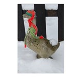 Christmas Goose with scarf and hat Postcards (Pack