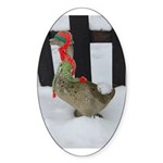 Christmas Goose with scarf and hat Sticker (Oval 1