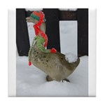 Christmas Goose with scarf and hat Tile Coaster