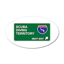 Scuba, Diving Territory 20x12 Oval Wall Peel