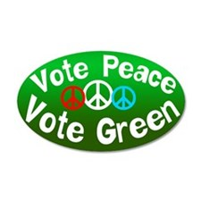 Vote Peace Vote Green 20x12 Oval Wall Peel