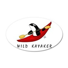 Wild Kayaker 20x12 Oval Wall Peel