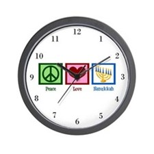 Peace Love Hanukkah Wall Clock