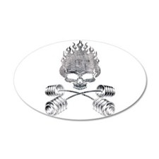 BARBELL CROSSBONES 35x21 Oval Wall Peel
