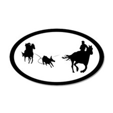 Team Roping 35x21 Oval Wall Peel