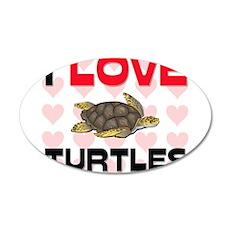 I Love Turtles 35x21 Oval Wall Peel