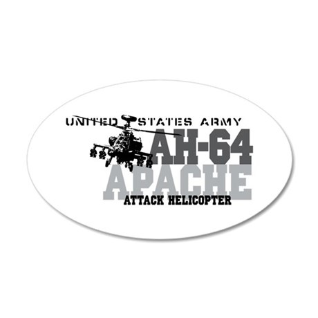 Army Apache Helicopter 20x12 Oval Wall Peel