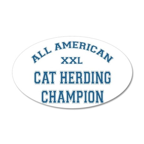 AA Cat Herding Champion 20x12 Oval Wall Peel
